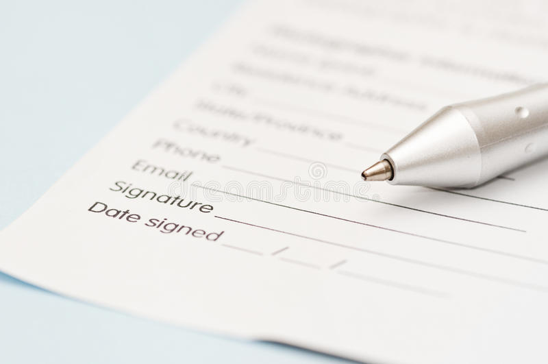 Assinatura da letra de negócio fotografia de stock royalty free