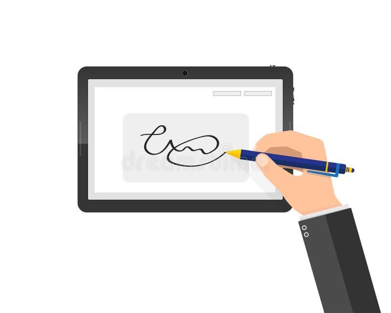 Assinatura digital escrita à mão moderna na tabuleta Ilustração do vetor ilustração stock