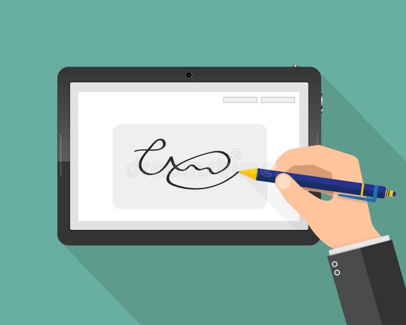 Assinatura digital escrita à mão moderna na tabuleta Ilustração do vetor ilustração do vetor