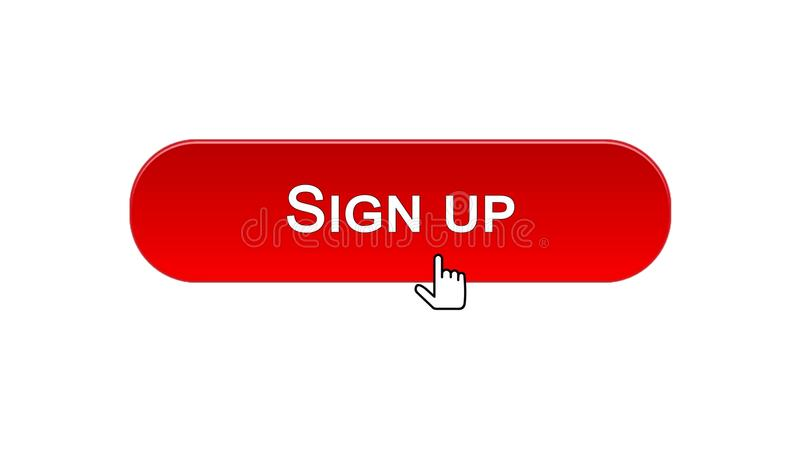 Assine acima o botão da relação da Web clicado com cursor do rato, cor vermelha, em linha ilustração do vetor