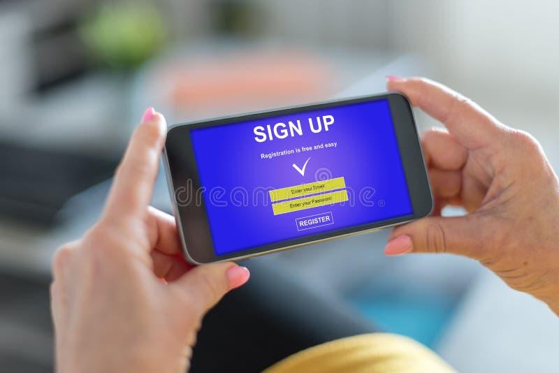 Assine acima o conceito em um smartphone fotos de stock