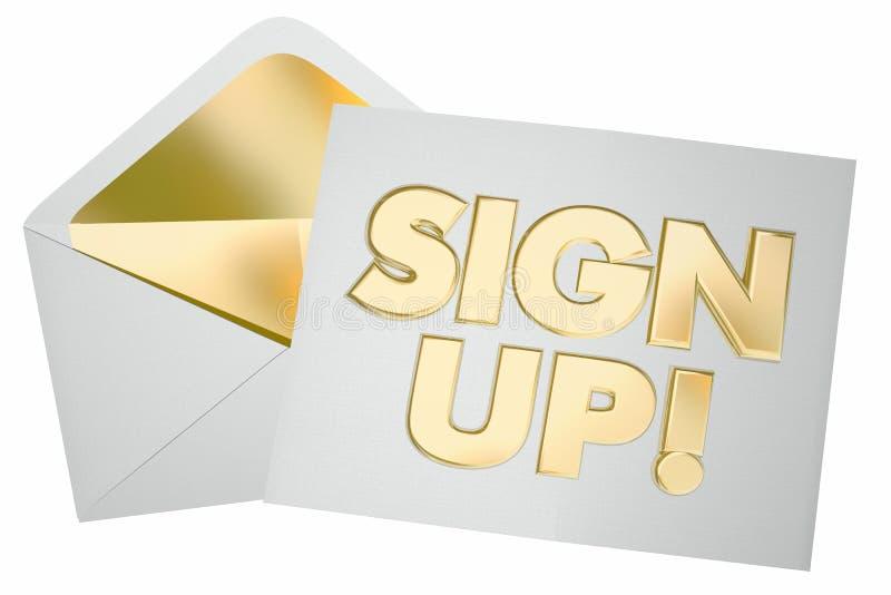 Assine acima o envelope do convite do registro juntam-se nos ilustração royalty free