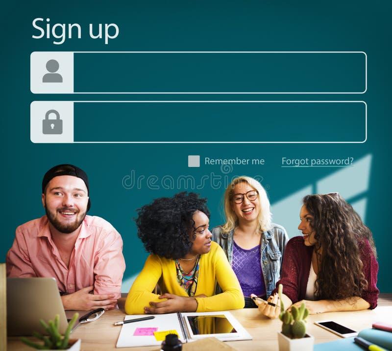 Assine acima o perfil de conta do registro juntam-se ao conceito imagem de stock