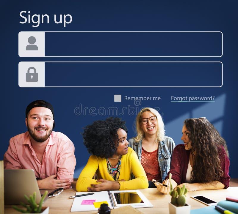 Assine acima o perfil de conta do registro juntam-se ao conceito imagens de stock