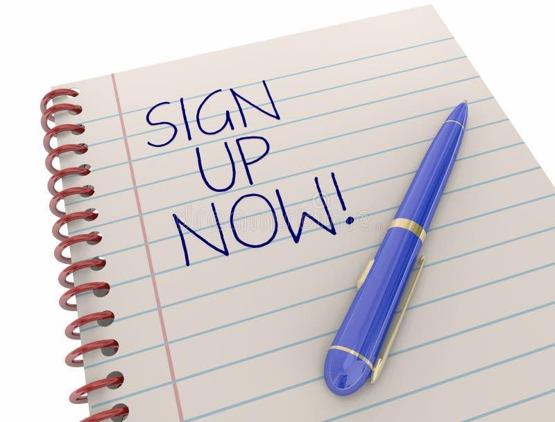 Assine acima o registro juntam-se participam bloco de notas da escrita ilustração stock