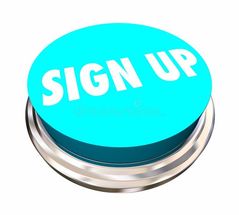Assine acima o registro registram-se juntam-se nos botão da palavra ilustração royalty free