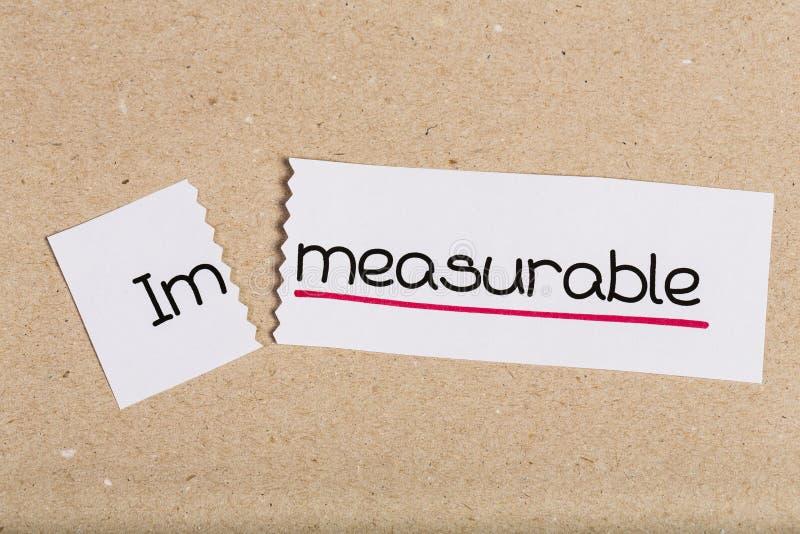 Assine com o incomensurável da palavra transformado em mensurável imagens de stock