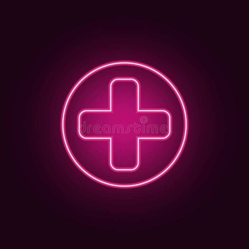 assine dentro o ícone da arma do jogo Elementos do jogo nos ícones de néon do estilo Ícone simples para Web site, design web, app ilustração royalty free