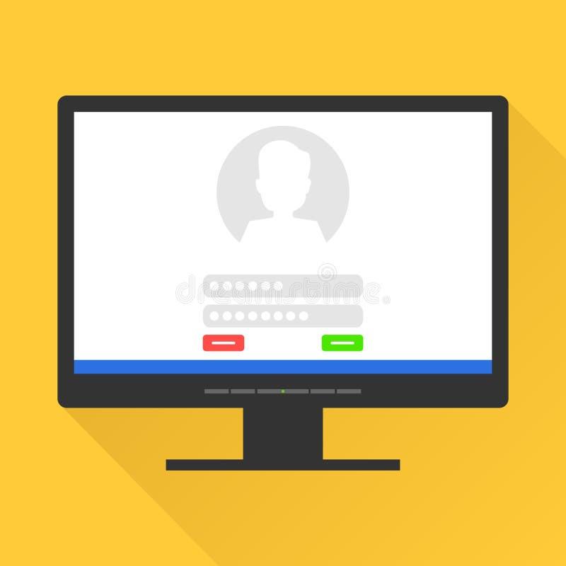Assine dentro a página no tela de computador Início de uma sessão e senha da caixa postal na tela de monitor ilustração stock