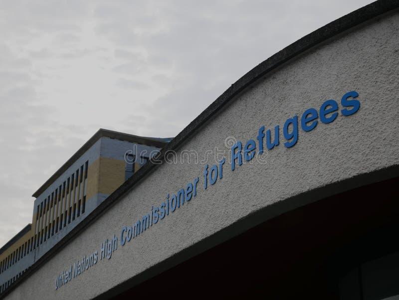 Assine na entrada principal das matrizes do UNHCR em Genebra foto de stock