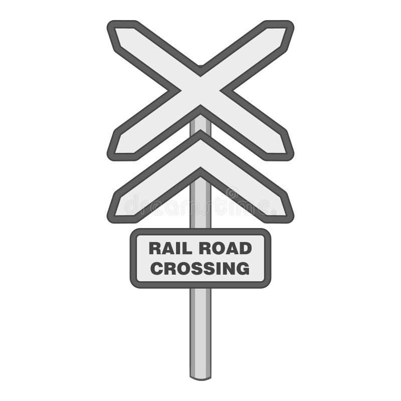 Assine o ícone do cruzamento de estrada de trilho, estilo monocromático ilustração stock
