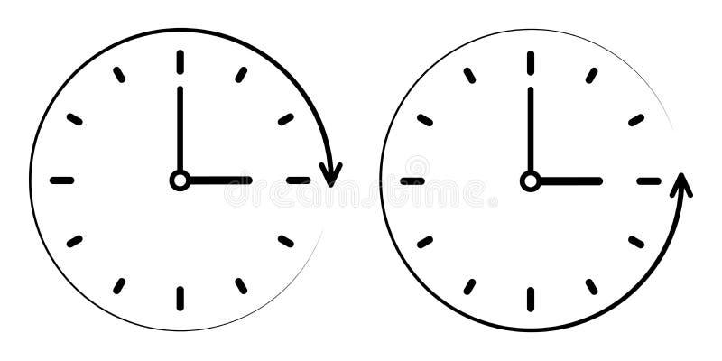 Assine o ícone o tempo da passagem no sentido anti-horário, do pulso de disparo do vetor as mãos, do minuto e de hora conceito de ilustração do vetor