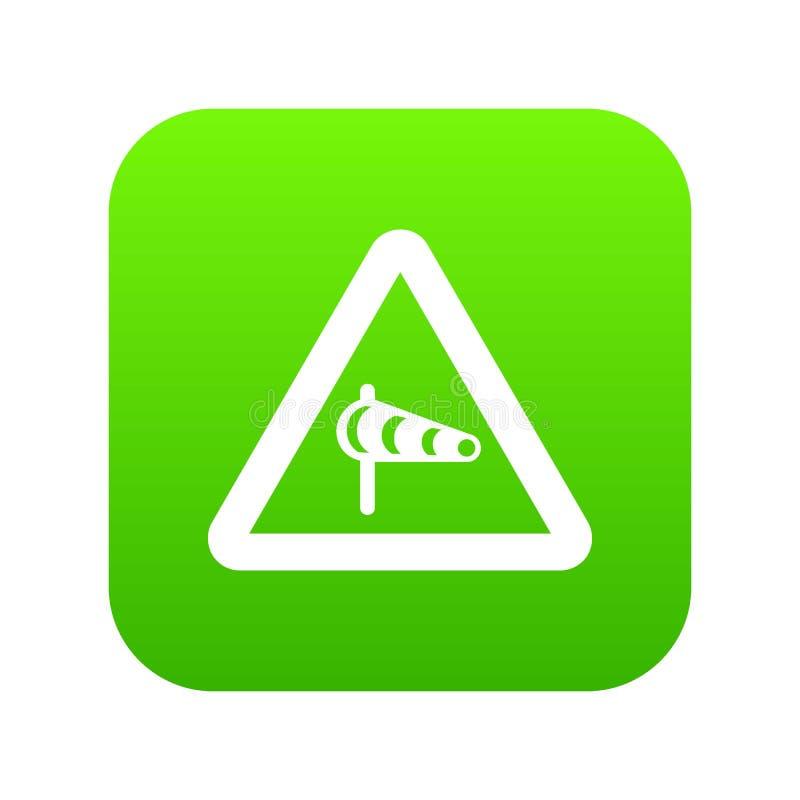 Assine o aviso sobre o vento transversal do verde digital do ícone esquerdo ilustração stock