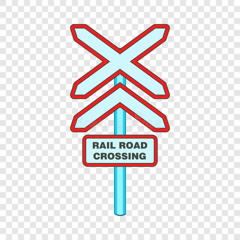 Assine o ?cone do cruzamento de estrada de trilho, estilo dos desenhos animados ilustração stock