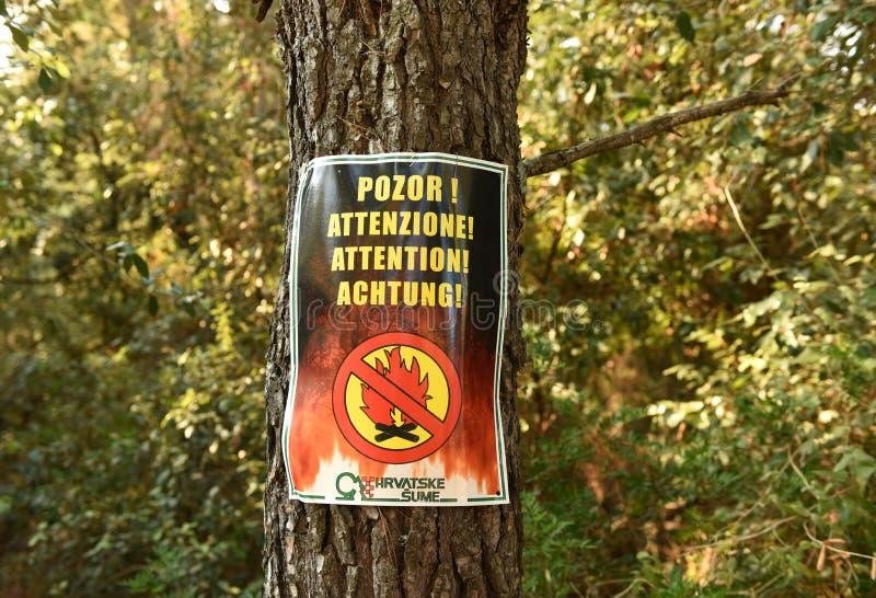 Assine o ` nenhum ` do fogo na floresta na ilha Lastovo, Croácia imagens de stock royalty free