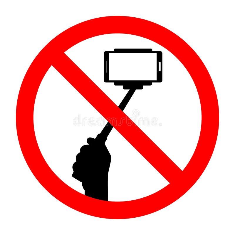 Assine o selfie proibido do telefone no fundo branco ilustração stock