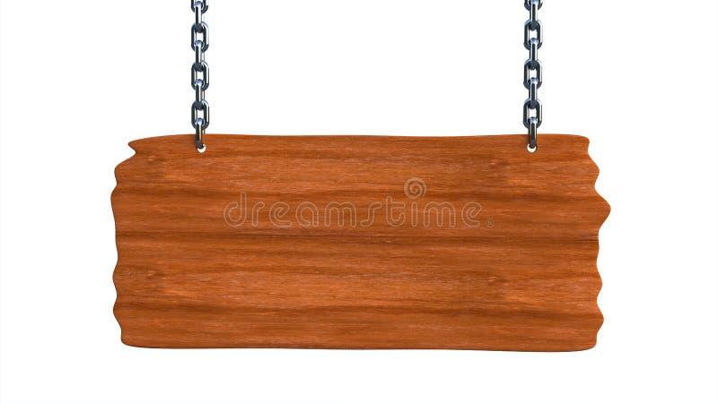 Assine a placa vazia de madeira que pendura em correntes e em espaço para o texto ilustração stock