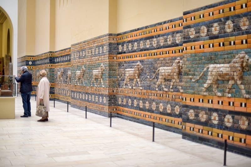 Assirian walls in Pergamon Museum in Berlin. Babylonian walls close up shooted in Pergamon Museum, Berlin royalty free stock photos