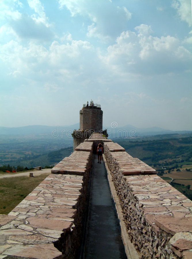 Assisi castle wall. On the castle fortifications at Assis, Umbria royalty free stock image
