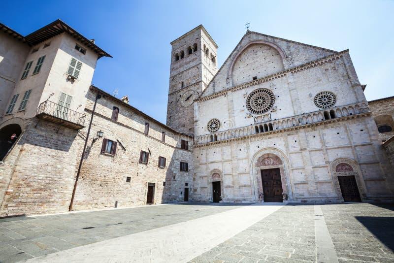 Assisi Cathedral San Rufino. Italy church. Assisi Cathedral. Dedicated to San Rufino (Rufinus of Assisi) is a major church in Assisi, Italy, that has been royalty free stock photos