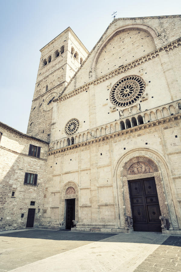 Assisi Cathedral San Rufino. Italy church. Assisi Cathedral. Dedicated to San Rufino (Rufinus of Assisi) is a major church in Assisi, Italy, that has been stock images