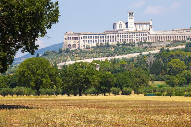 Assisi, Italië Mening van de Basiliek van San Francesco royalty-vrije stock fotografie