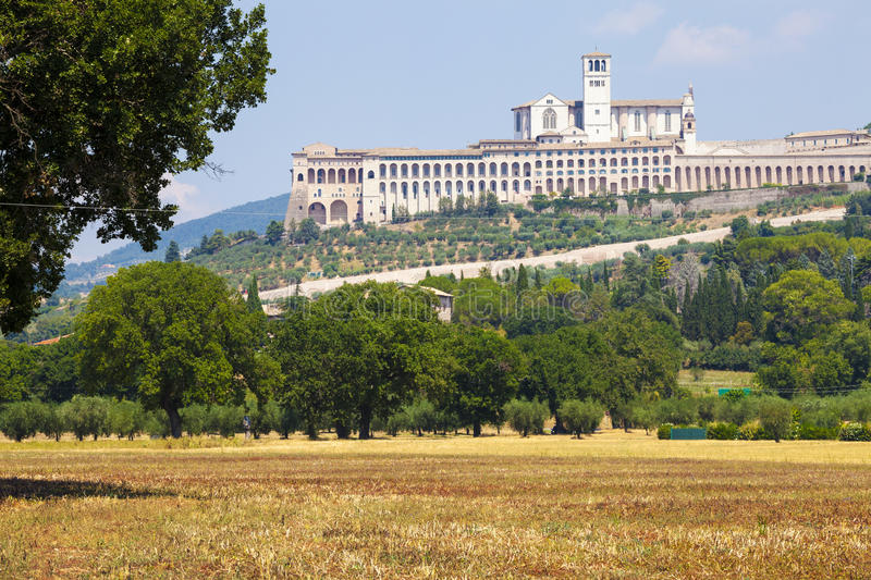 Assisi, Italy. View of the Basilica of San Francesco. royalty free stock photography
