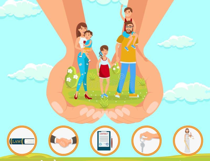 Assistência jurídica em crianças da adoção das matérias ilustração do vetor