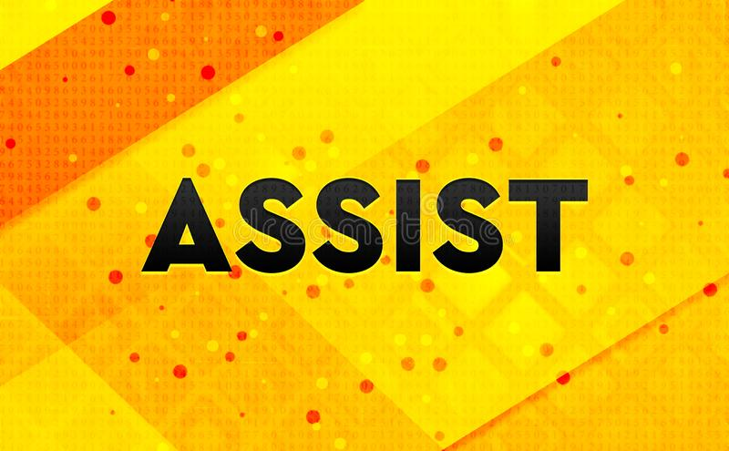 Assist abstract digital banner yellow background. Assist isolated on abstract digital banner yellow background vector illustration