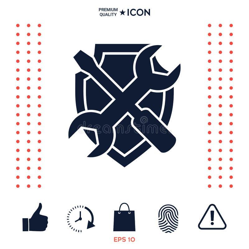 Download Assista L'icona Di Simbolo - Schermo Con Il Cacciavite E La Chiave Illustrazione Vettoriale - Illustrazione di servizio, chiave: 117976731