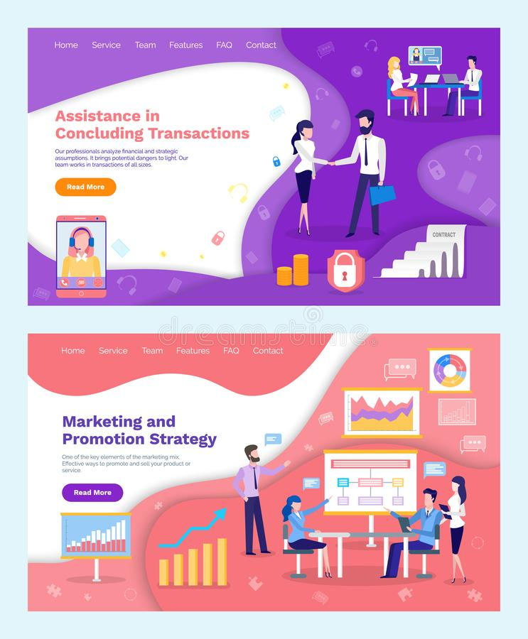 Assistance in Concluding Transactions Marketing royalty free illustration