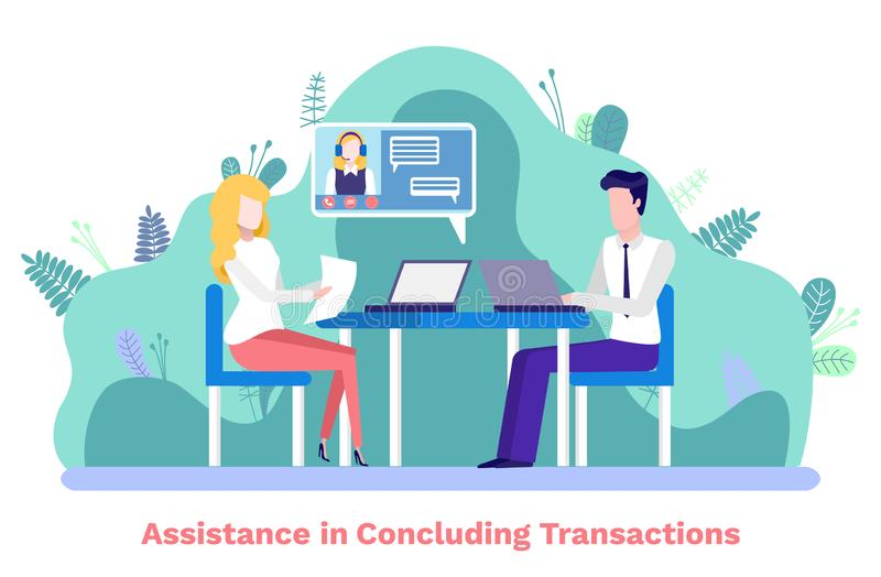Assistance in Concluding Transactions Meeting stock illustration