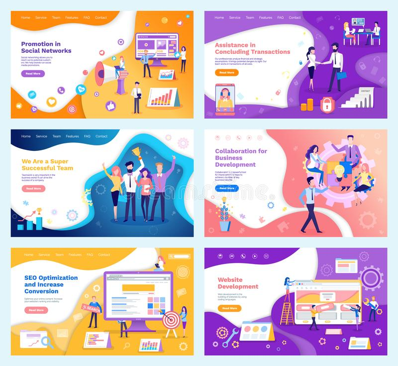 Assistance in Concluding Transactions Posters Set vector illustration