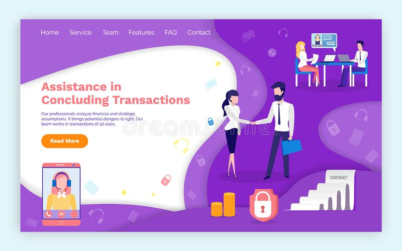 Assistance in Concluding Transactions Webpage stock illustration