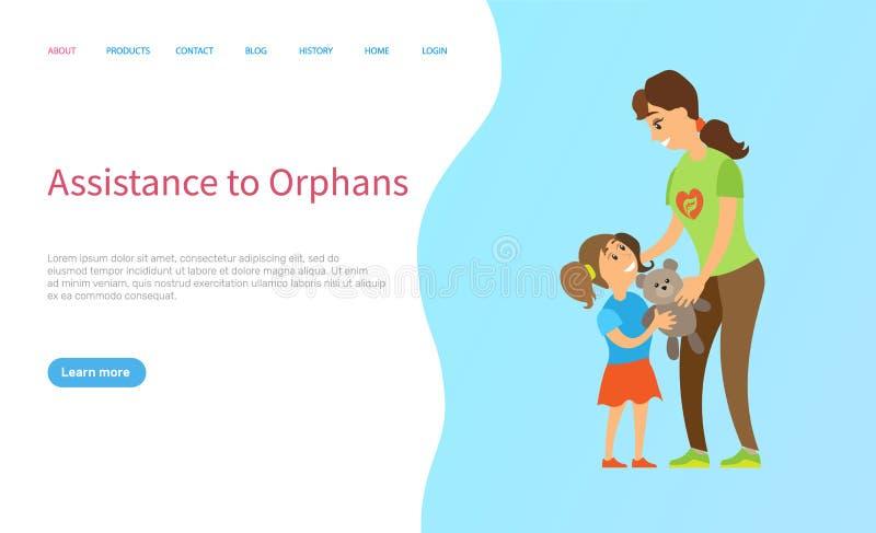 Volunteering Work, Children Community, Web Vector. Assistance to orphans, portrait view of volunteer giving toy to little girl, children community, caring to kid vector illustration