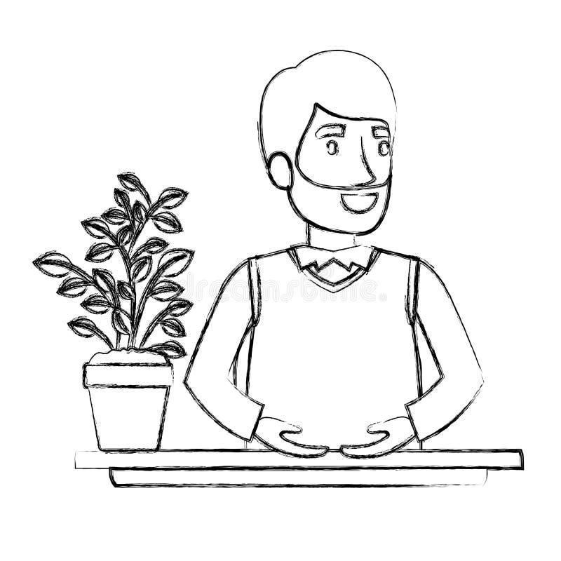 Assistant barbu brouillé d'homme de demi corps de silhouette dans le bureau dans le costume formel illustration stock