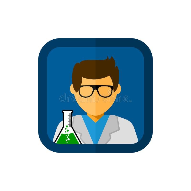 Assistant de laboratoire avec l'illustration carrée d'icône de vecteur illustration libre de droits