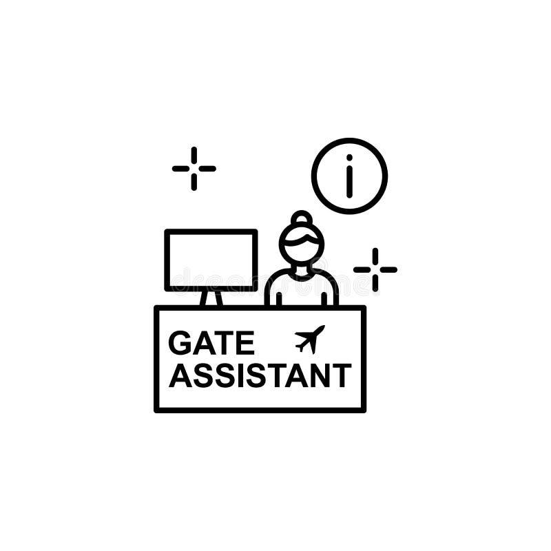 Assistant de porte, l'information, icône d'aéroport Élément de ligne icône d'aéroport de couleur illustration stock