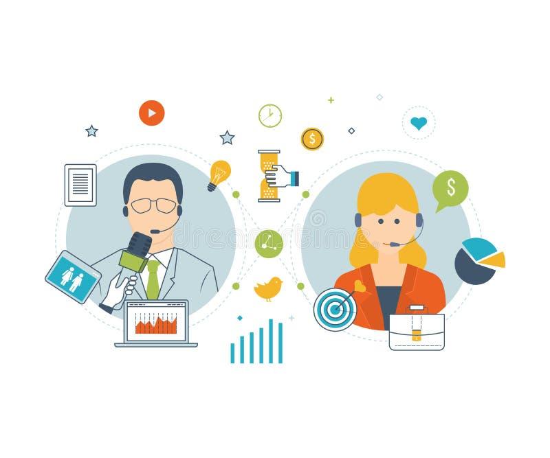 Assistant de support technique Réseau social illustration stock
