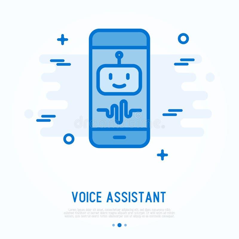 Assistant de voix sur la ligne mince icône de smartphone illustration libre de droits