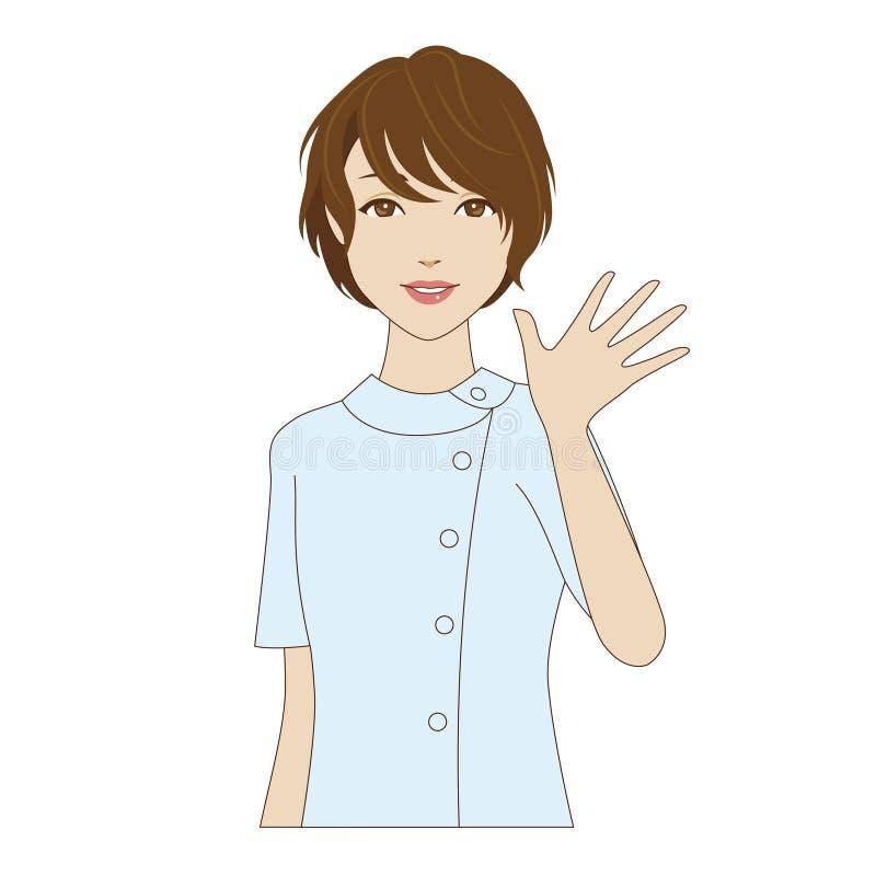 Assistant dentaire ondulant sa main illustration libre de droits