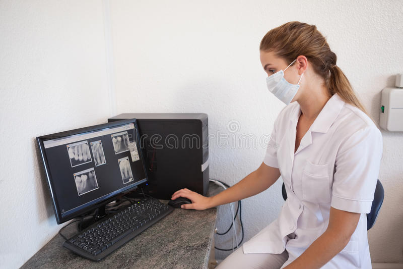 Assistant dentaire regardant des rayons X sur l'ordinateur images stock