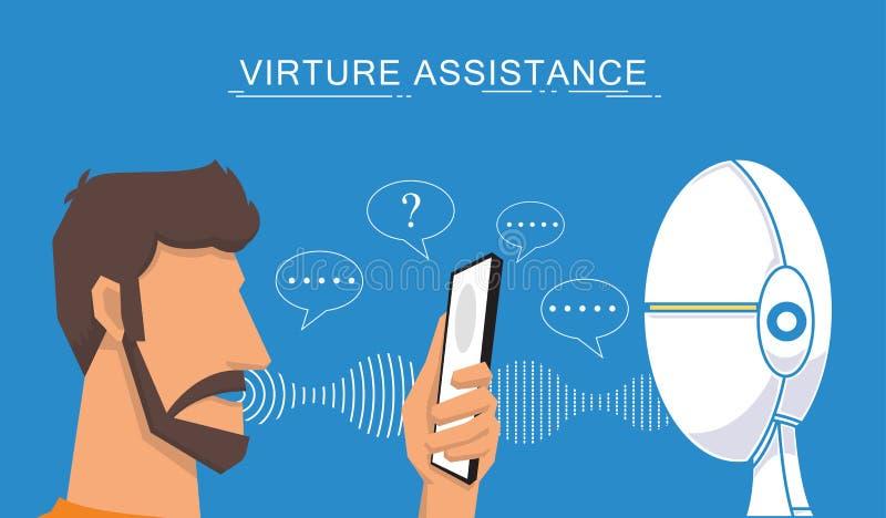 Assistant et illustration virtuels de vecteur de reconnaissance vocale illustration libre de droits