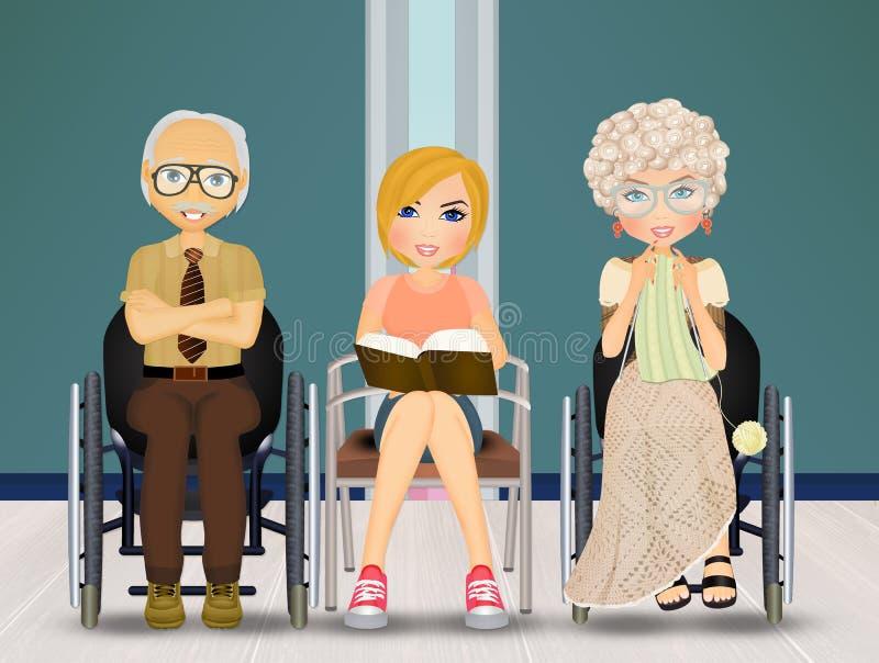 Assistant pour les personnes âgées dans la maison de repos illustration stock