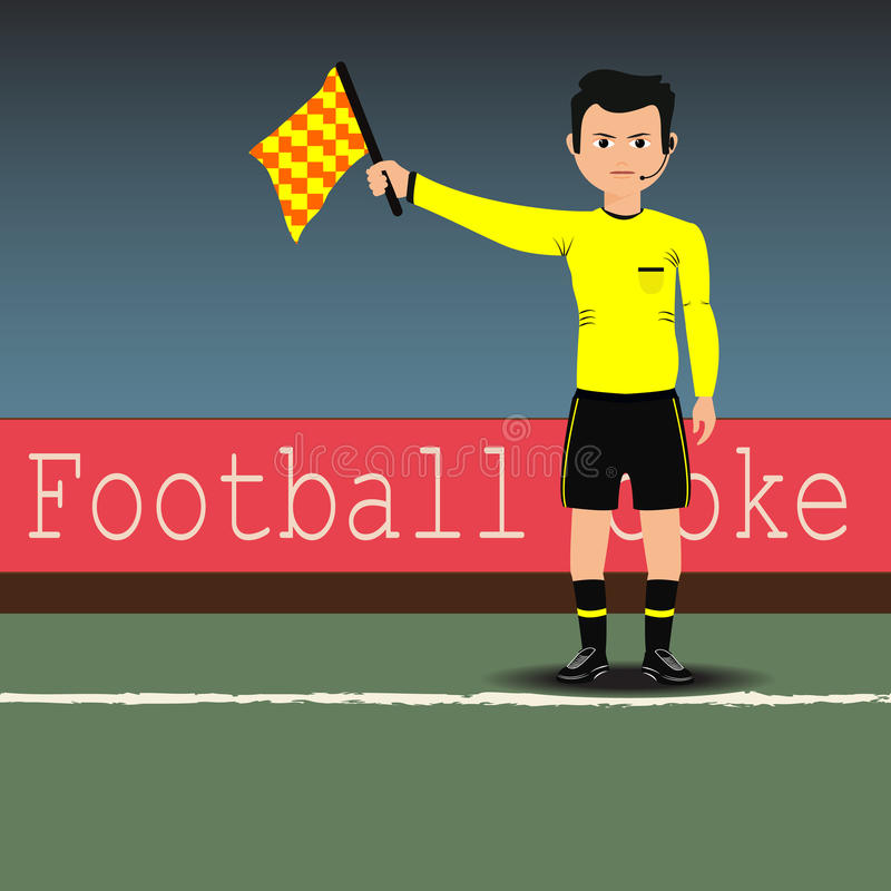 Assistant referees with flag on the soccer match. Vector. Sport, referee, football, goal, match, stadium, yellow, flag, justice, field athletes, feet, shoes vector illustration