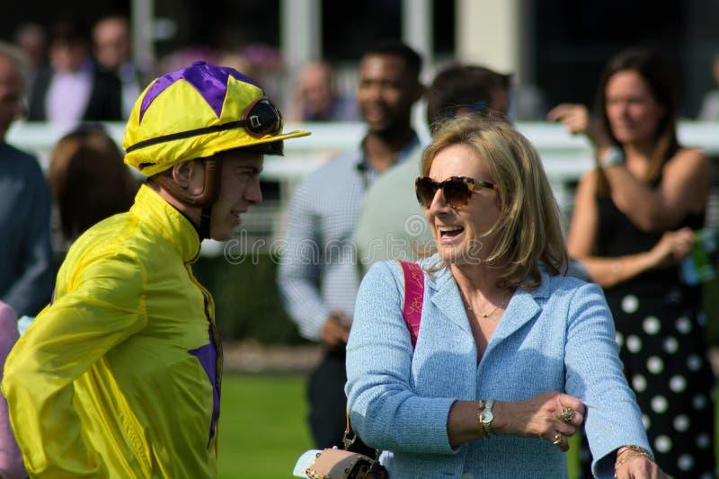 Assistant horse racing Trainer Maureen Haggas & jockey James Doyle royalty free stock photo