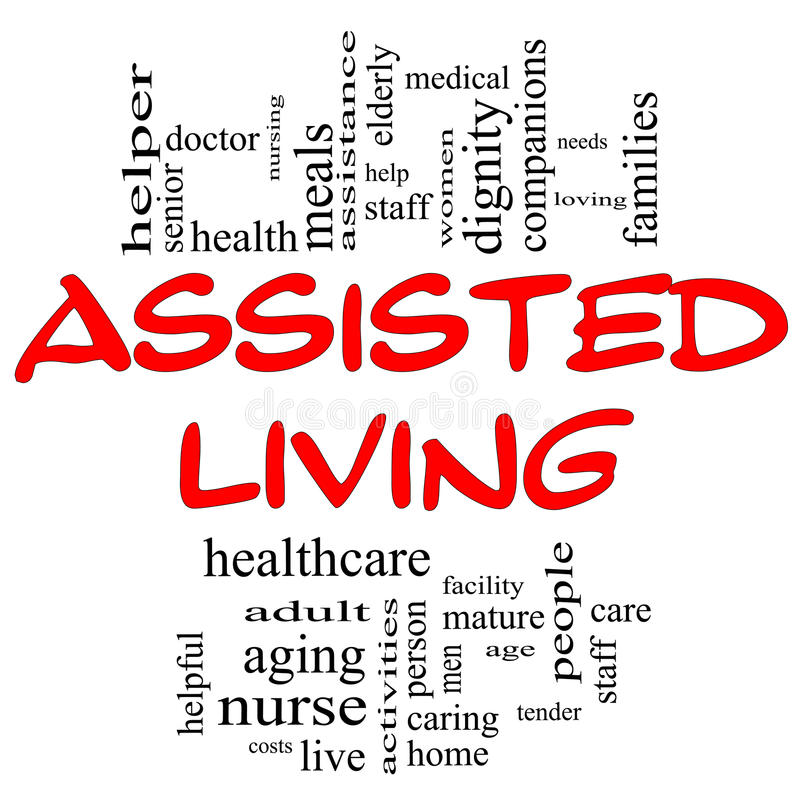 Assisted Living Concept in Red and Black vector illustration