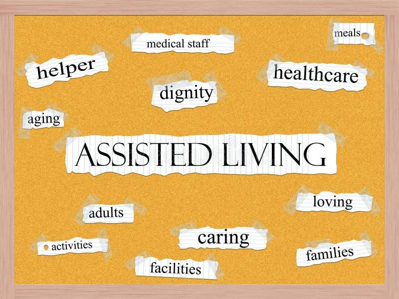 Assisted Living Corkboard Word Concept vector illustration
