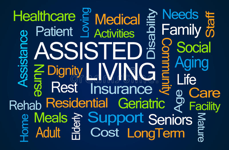 Assisted Living Word Cloud stock illustration