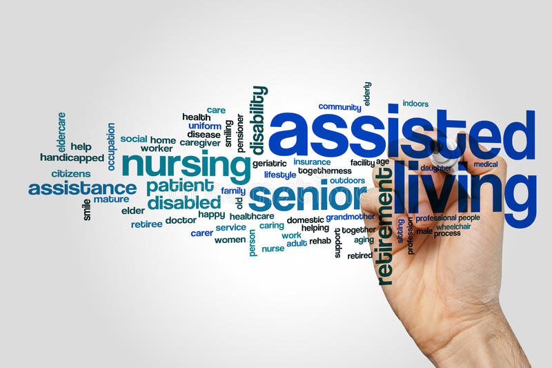 Assisted living word cloud concept on grey background royalty free stock photography